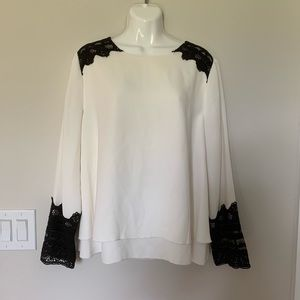 Chico's Black Label Lace Bell Sleeve Blouse